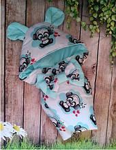 Конверт-одеяло на выписку с ушками 78х78 см