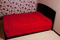 Покрывало на кровать махра VERSACE - красное