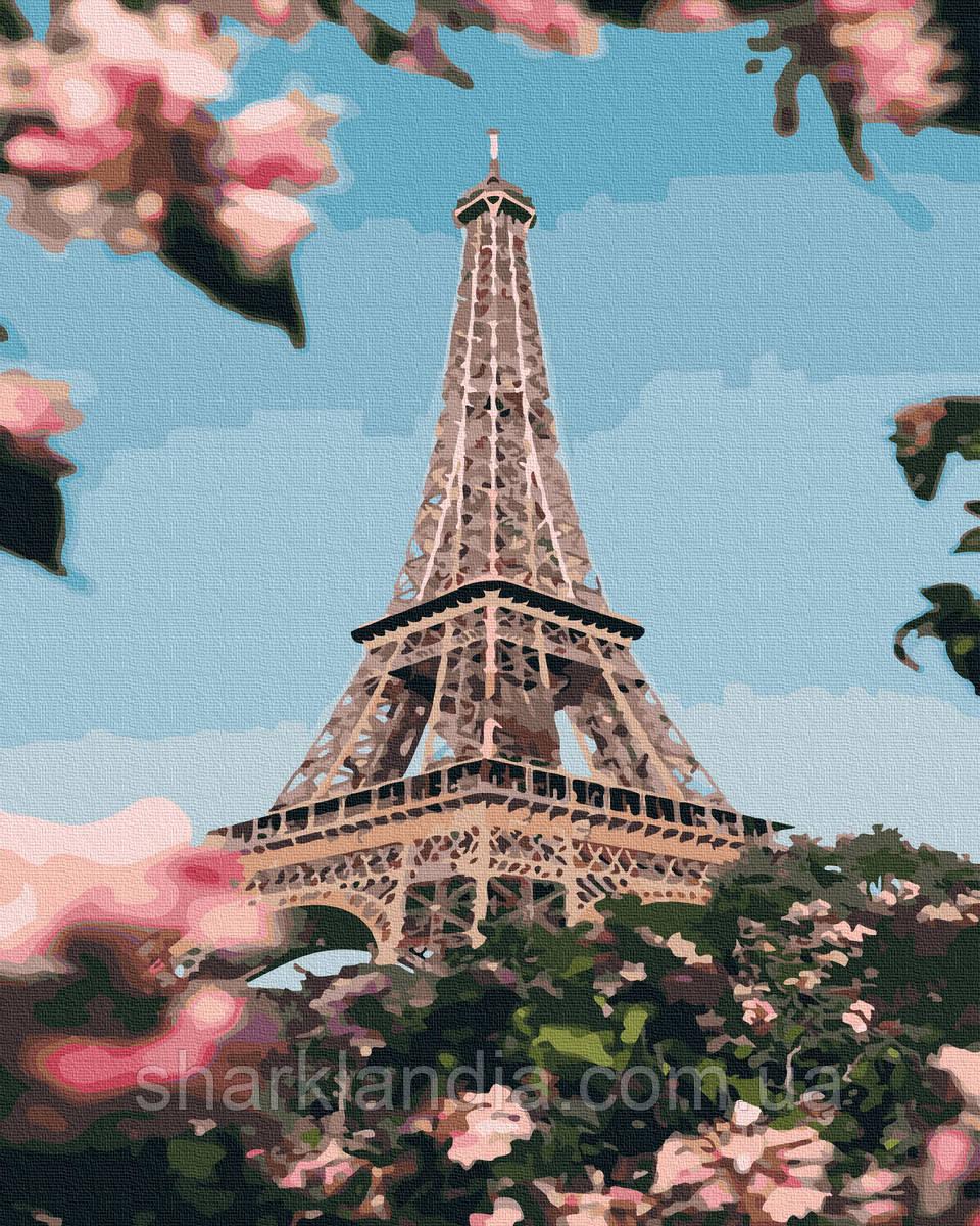 Картина по номерам Цветущий Париж 40х50см RainbowArt Париж Эйфелева башня