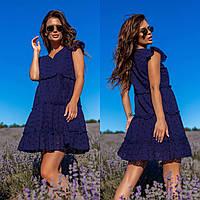 Женское летнее платье темно-синего цвета батал SLK11-290606