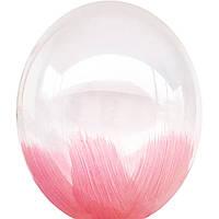 """Воздушные шары Браш розовый на прозрачном 12"""" (30см)"""