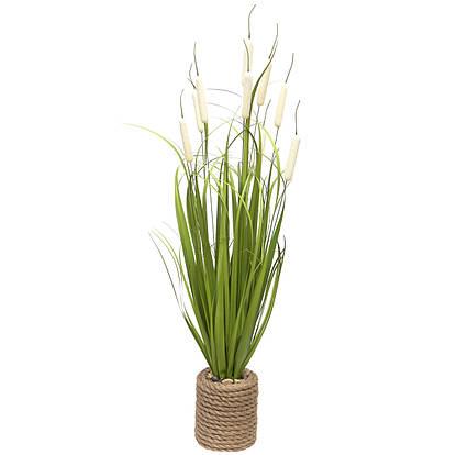 Искусственное растение Рогоз с травой в горшке, 78 см, белый, пластик (130368)