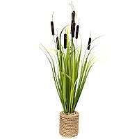 Искусственное растение Рогоз с травой в горшке, 78 см, коричневый, пластик (130375)
