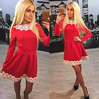Платье с кружевом на воротничке и по подолу 2 цвета