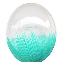 """Воздушные шары Браш бирюзовый (аквамарин, мята) на прозрачном 12"""" (30см)"""