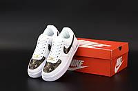 Кроссовки женские Nike Air Force 1 Shadow Louis Vuitton White / Найк Аир Форс белые повседневные кожаные