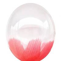 """Воздушные шары Браш красный на прозрачном 12"""" (30см)"""