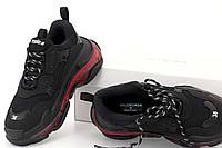 Кроссовки женские Balenciaga Triple S Clear Sole Black Red / Баленсиага Трипл С черные с красным молодежные