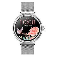 Умные часы женские Max Robotics Ladies Smart watch CF-80 металлический + силиконовый ремешок Silver