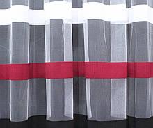 Отрез (2,85х2,7м.) ткани, остаток с рулона. Фатин полосы. Цвет белый с бордовым и черным. Код 344ту 00-307