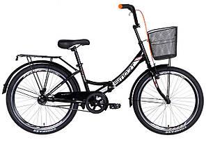 """Велосипед 24"""" Formula SMART з кошиком 2021 (чорно-помаранчевий)"""