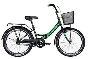 """Велосипед 24"""" Formula SMART з кошиком 2021 (чорно-зелений (м))"""