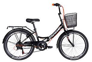 """Велосипед 24"""" Formula SMART з кошиком, трещітка 2021 (чорно-помаранчевий)"""