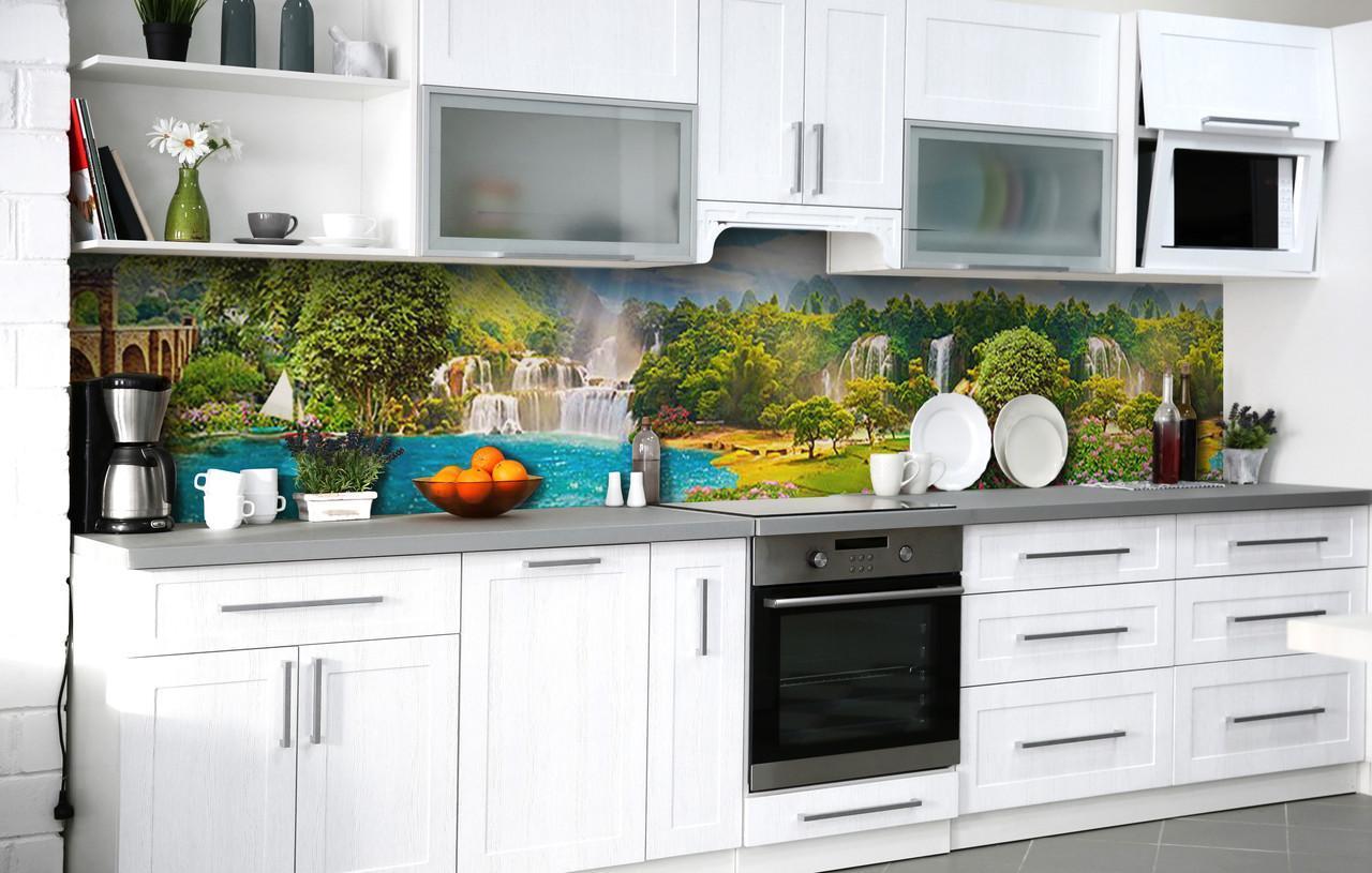 Скинали на кухню Zatarga «Рай на Земле» 650х2500 мм виниловая 3Д наклейка кухонный фартук самоклеящаяся