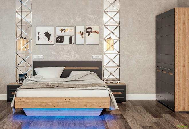 Модульна спальня Б'янко (графіт) Світ Меблів