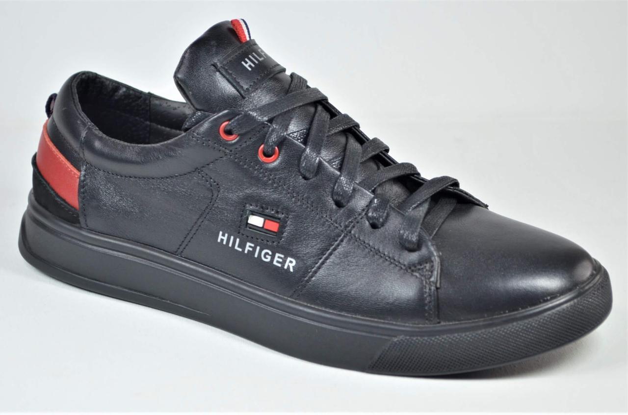 Чоловічі спортивні туфлі шкіряні кеди чорні Rivest в стилі Кед год/кр.