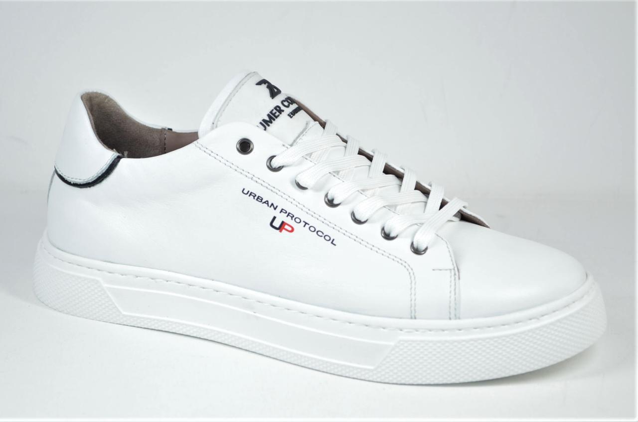 Мужские спортивные туфли кожаные кеды белые Bumer 18