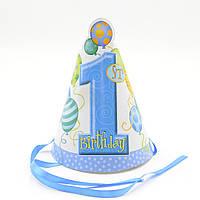 Колпачок 1-st birthday голубой