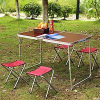 Туристический раскладной стол для пикника и рыбалки с 4 стульями