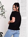 Жіноча футболка, бавовна, р-р універсальний 48-54 (чорний), фото 2