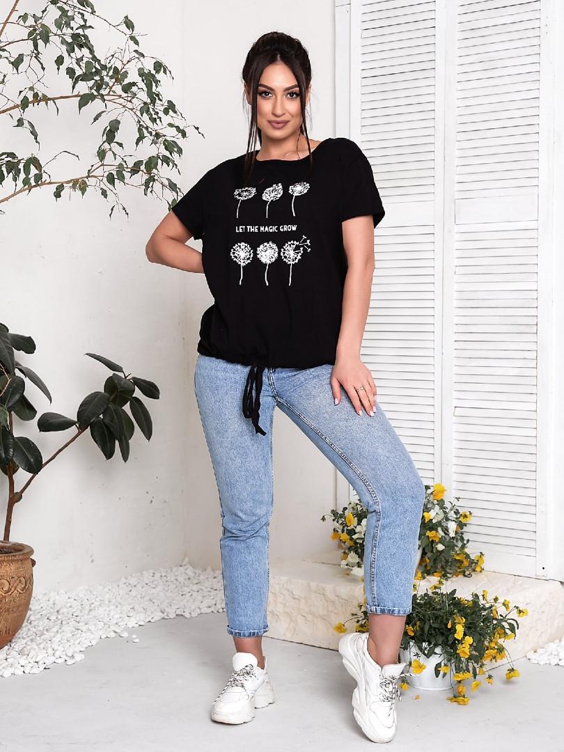 Жіноча футболка, бавовна, р-р універсальний 48-54 (чорний)