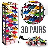 Полка для обуви органайзер этажерка Shoe Rac Amazin на 30 пар стеллаж стойка под обувь Стійка для взуття
