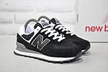 Кросівки чорні натуральний замш і текстиль New Balance 574, фото 4
