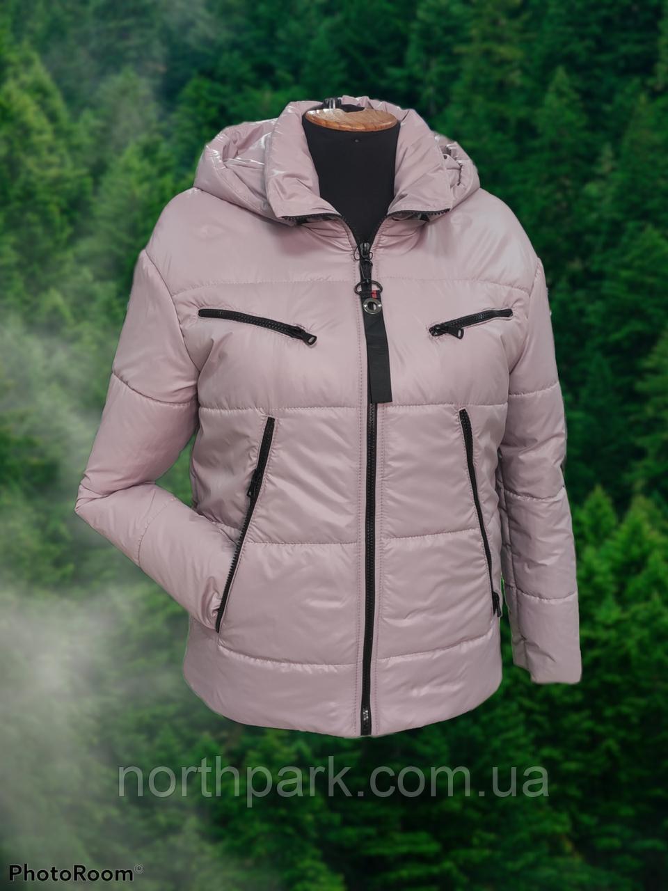 Стильна жіноча демісезонна коротка куртка SK-28, пудра