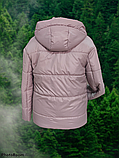 Стильна жіноча демісезонна коротка куртка SK-28, пудра, фото 6