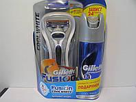 Набор для бритья мужской Gillette Fusion Cool White (Станок + 1 кассета + Жиллет дезодорант Cool Wave 150 мл.), фото 1