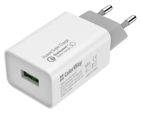 Пристрій зарядний мережевий Colorway 1USB Huawei Super Charge/Quick Charge 3.0, 4A (20W) білий (код 115293)