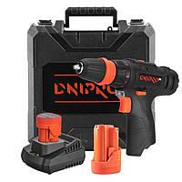 Аккумуляторная дрель-шуруповерт Dnipro-M CD-12Q + 2 батареи BP-122 + Зарядное FC-122 + Кейс