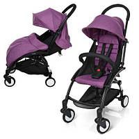 Детская прогулочная коляска-книжка фиолетовая Легкая коляска-прогулка Коляска прогулочная для девочки