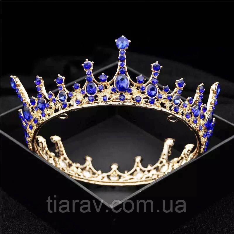 Корона кругла на голову, Корона з синіми каменями , корона чоловіча