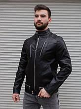 Мужская куртка из кож зама Змейки черная Сл 1998