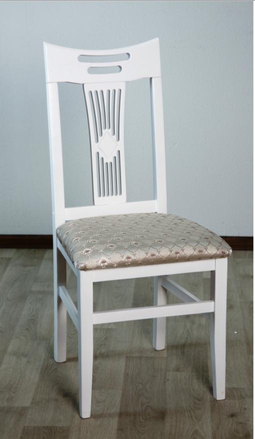 Белый обеденный стул из массива дерева, с мягкой сидушкой -Юля