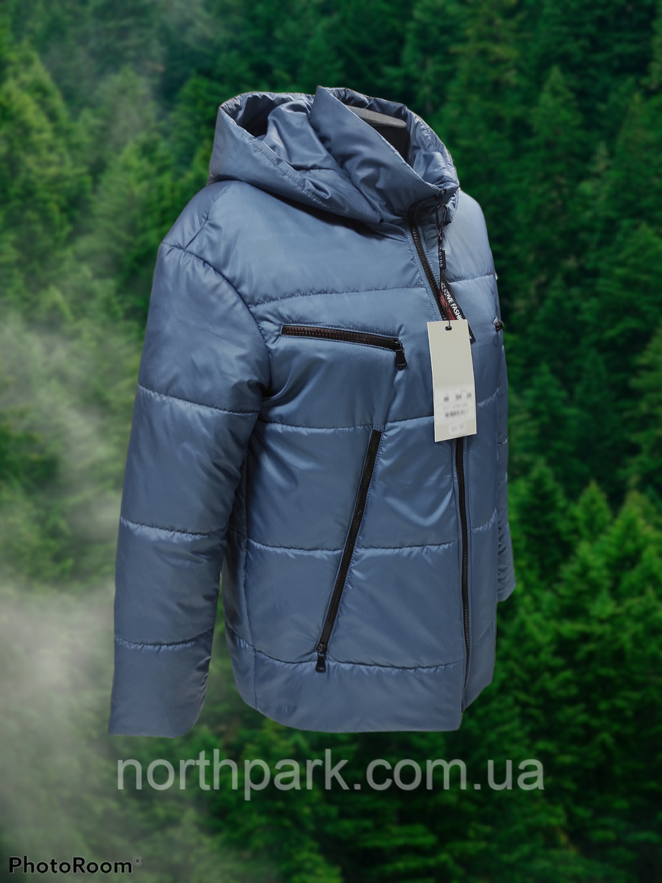 Стильна жіноча демісезонна коротка куртка SK-28, синя