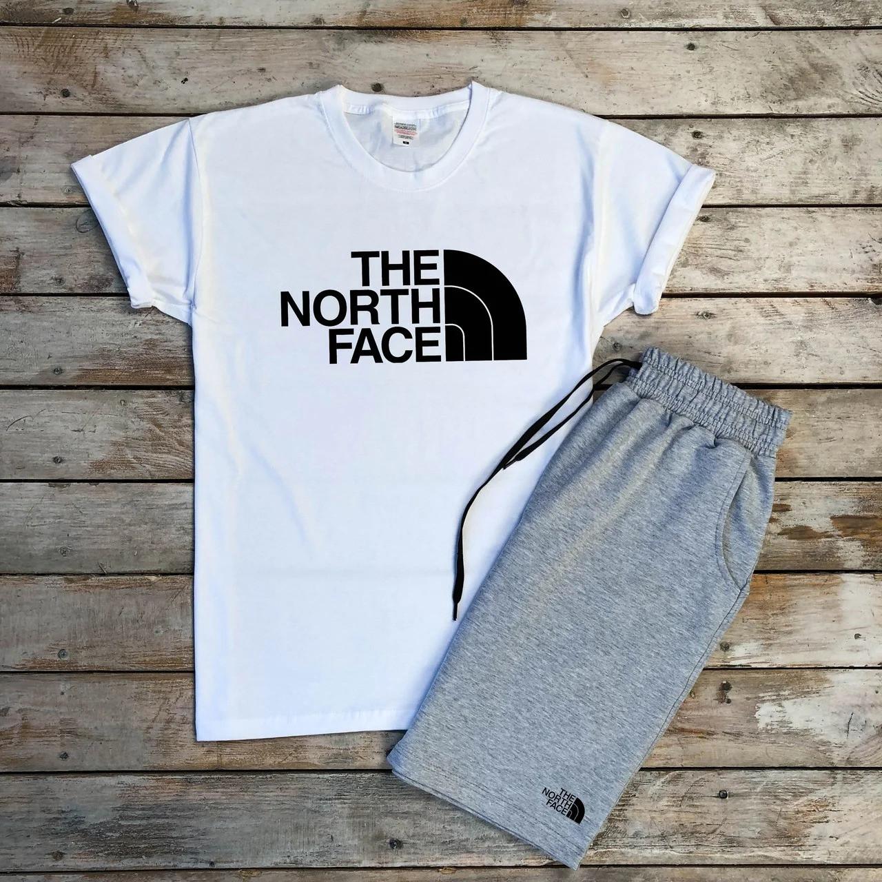 Футболка і шорти The North Face білого і сірого кольору