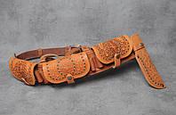 Охотничий кожаный пояс патронташ, ручная работа