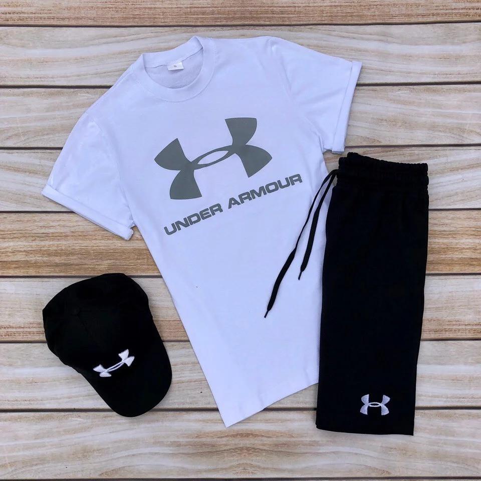 Футболка и шорты Under Armour белого и черного цвета