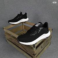 Мужские кроссовки Adidas (черные с белым) O10437 легкая обувь на пене для парней