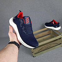 Мужские кроссовки Adidas (синие с красным) O10440 модная обувь на пене для парней