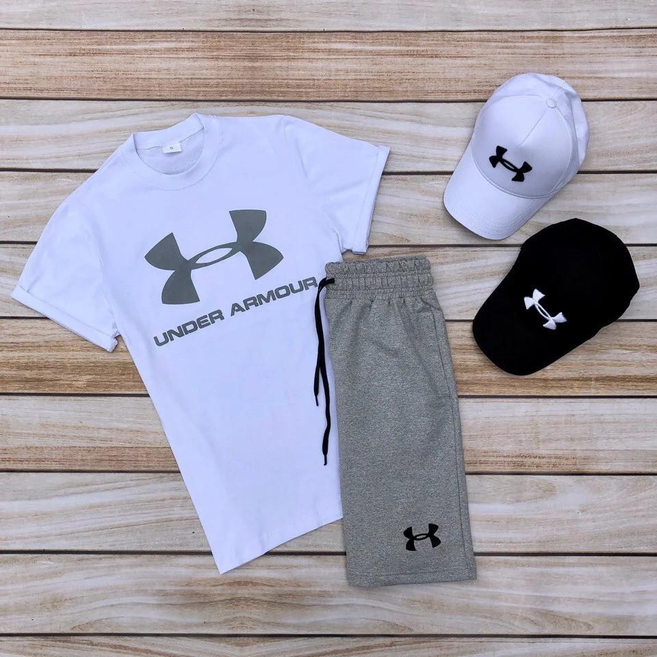 Футболка и шорты Under Armour белого и серого цвета