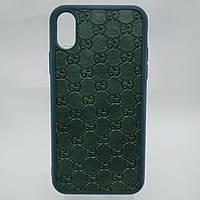 Рельефный тёмно-зелёный шикарный силиконовый чехол на Айфон 10 для iPhone X