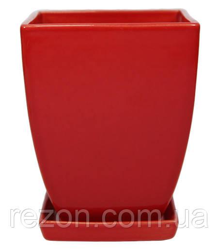 """Вазон  керамический для цветов """"Конус чотирикутний"""" 1.1л Rezon P091"""