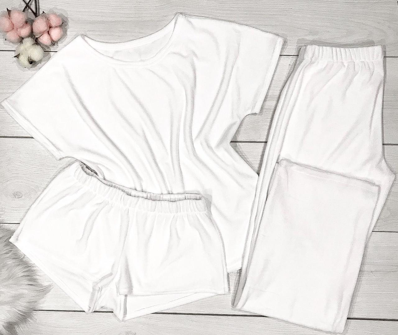 Модная женская пижама тройка, белого цвета.