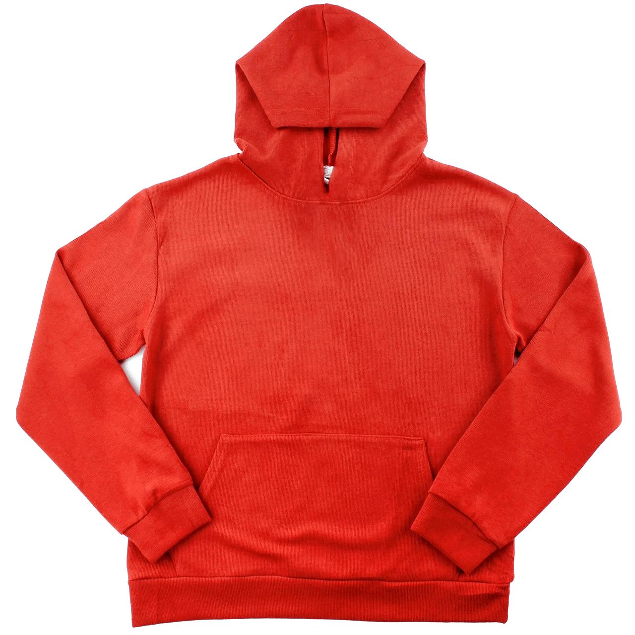 Молодежные худи однотонные с карманом повседневные женское худи с капюшоном Red