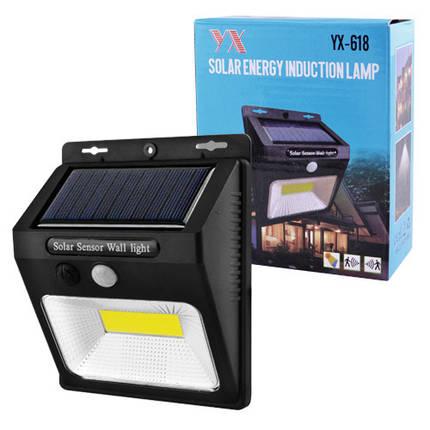 Настінний вуличний світильник YX-618/566-COB, 1x18650, PIR+CDS, сонячна батарея, фото 2