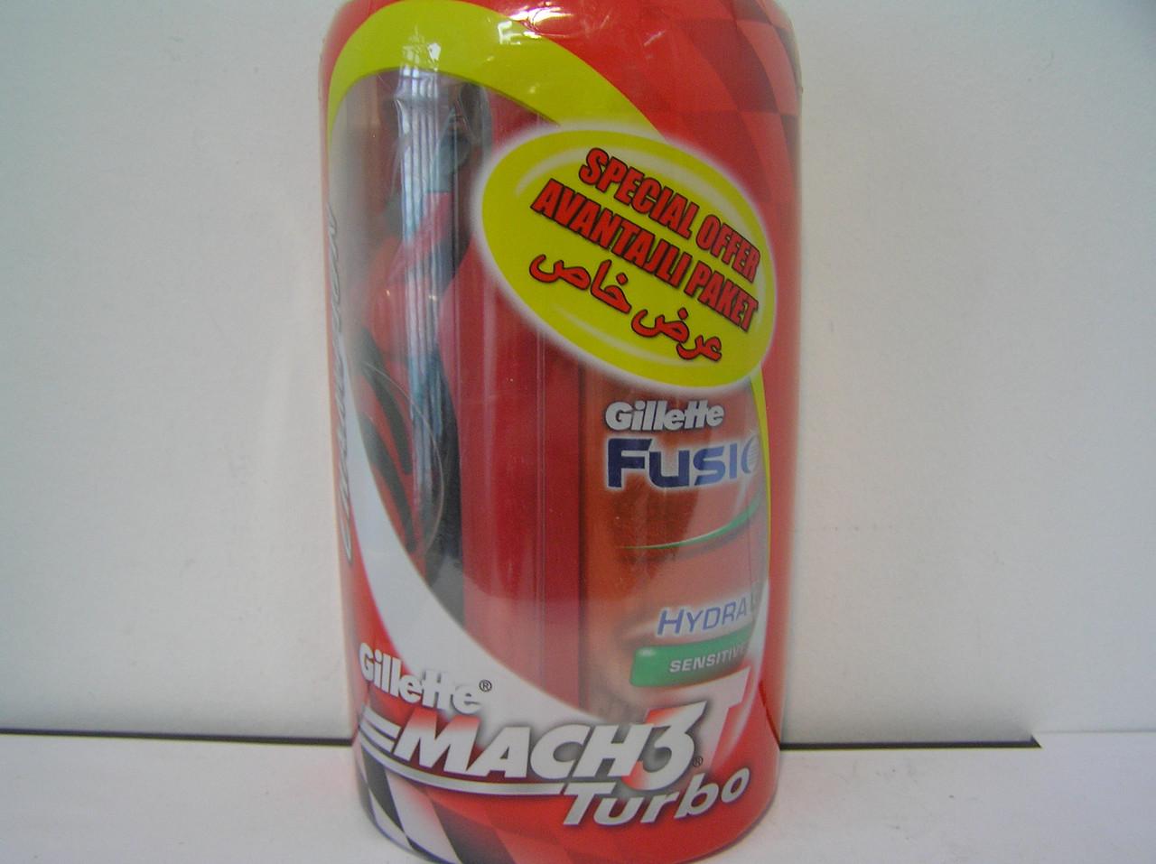 Набор для бритья мужской Gillette Kombo Mach 3 Turbo Чемпион Станок + 1 кассета + Гель  75 мл.(Жиллет Мак 3)