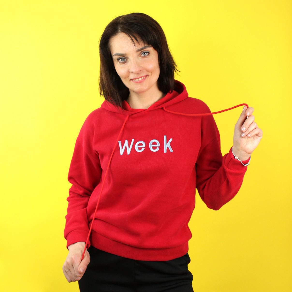 Жіночі худі з вишивкою на червоному однотонні повсякденні жіночі худі з капюшоном Week